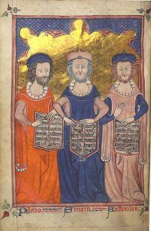 Plato, Seneca en Aristoteles. Illustratie uit een middeleeuws manuscript (© Wikipedia).
