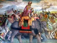 Hannibal trekt over de Alpen, detail van een fresco (ca. 1510) in de Capitolijnse Musea in Rome (© Wikipedia).
