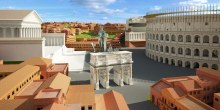 De westelijke kant van het Colosseum met de Boog van Constantijn in het midden en de Tempel van Venus en Roma aan de linkerkant