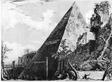 Ets van de piramide van Cestius in Rome door Piranesi (18e eeuw)