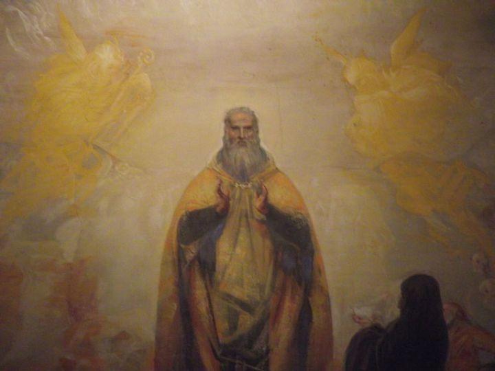 Fresco van de heilige Benedictus in Montecassino