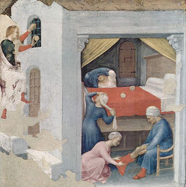 Sint Nicolaas gooit drie gouden bollen in de kamer van de meisjes, schilderij uit ca. 1425 door Gentile da Fabriano