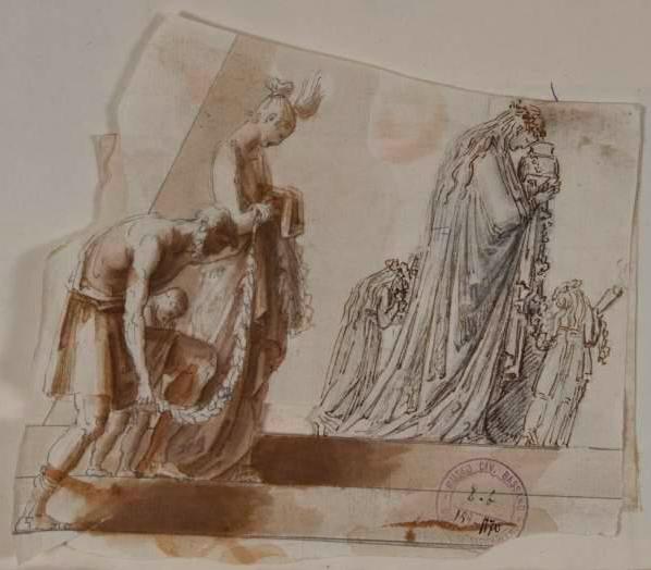 Figuren bij het monument van Maria Cristina van Oostenrijk