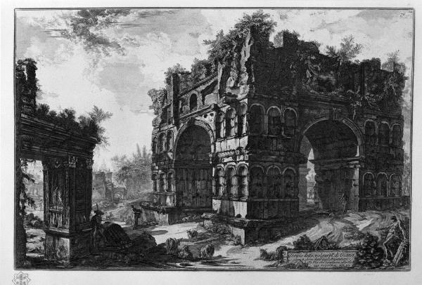 De Januspoort in Rome, een ets van Giovanni Battista Piranesi (1756)
