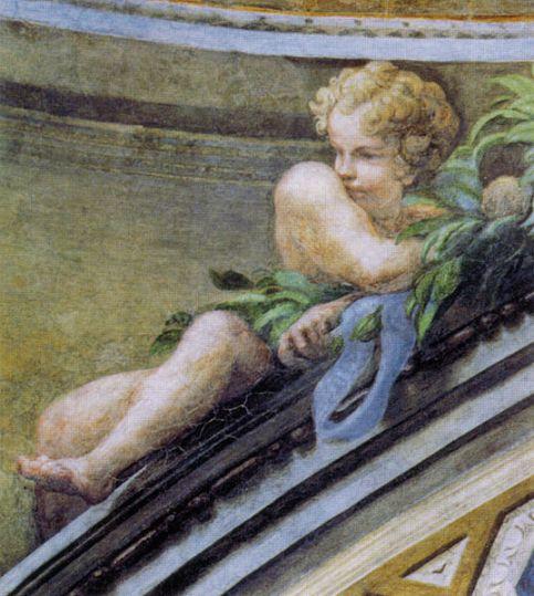Putto in de koepel van de San Giovanni Evangelista in Parma (1520)
