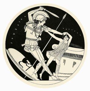 Attische vaas met Achilles die Troilus doodt