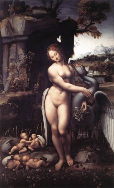 Jupiter verandert zichzelf in een zwaan en overmeestert Leda, koningin van Sparta. Leonardo da Vinci (1510)