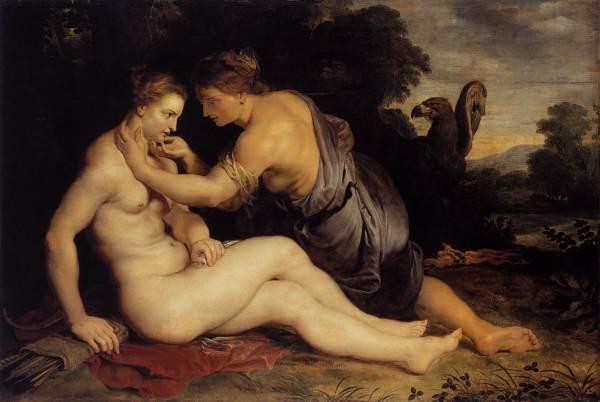 Jupiter verleidt de nimf Callisto, vermomd als de godin Artemis. Peter Paul Rubens (1611)