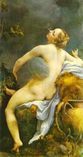 Jupiter had een geheime relatie met de zeenimf Io; hij bezocht verkleed als wolk, om zijn echtgenote Hera te misleiden. Antonio da Correggio (1531)