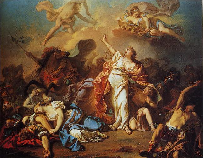 Artemis en Apollo doden Niobes kinderen, Jacques Louis David (1772)