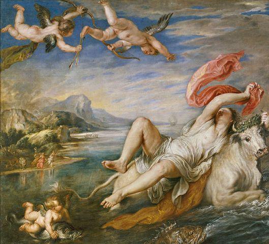 Toen Jupiter verliefd werd op de Fenicische prinses Europa, wist hij haar vermomd als witte stier te ontvoeren. Peter Paul Rubens (1628/9)