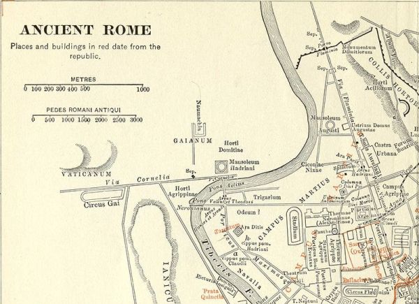 Kaart van Rome met de ligging van de oude Via Cornelia (uit: S.B. Platner, The Topography and Monuments of Ancient Rome, 1911)