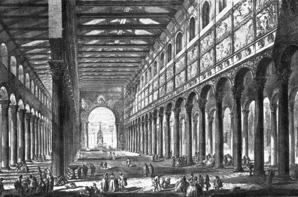 Interieur Sint-Paulus Buiten de Muren, ets van Piranesi (1749)