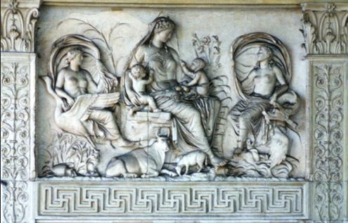 Detail van de Ara Pacis: het zogenaamde 'Tellus-reliëf'