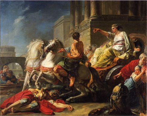 Tullia rijdt over het lichaam van haar vader, Jean Bardin (1765)