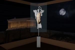 Beeld van de godin Nike, met een virtuele reconstructie van de missende delen