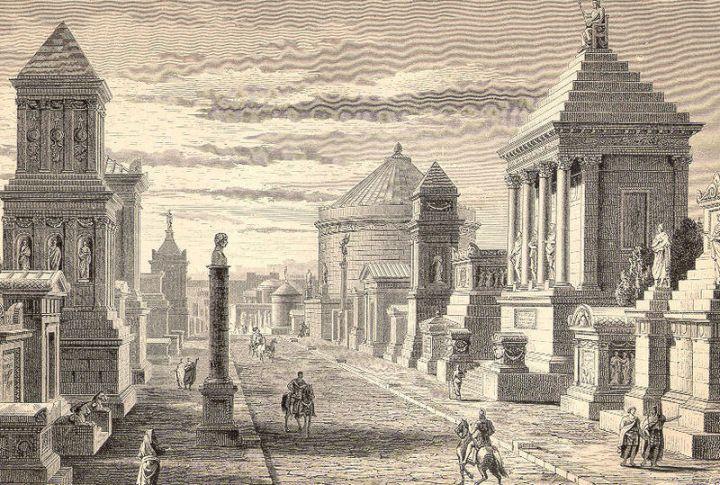 Een (fantasierijke) reconstructie van de Via Appia uit de 19e eeuw