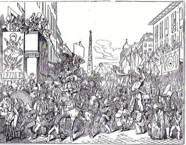 Carnaval in de Via del Corso, gravure uit 1836