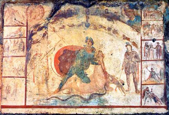 Fresco van Mithras die een stier doodt in het Barberini Mithraeum