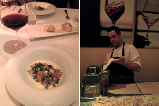 Links: risotto met fazant; rechts: chef Fabrizio draait de verse pasta