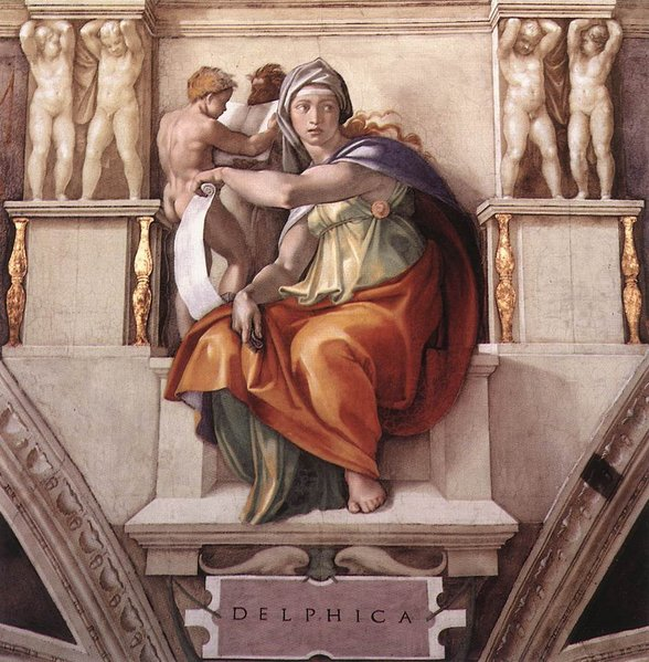De Sibille van Delphi door Michelangelo, Sixtijnse Kapel