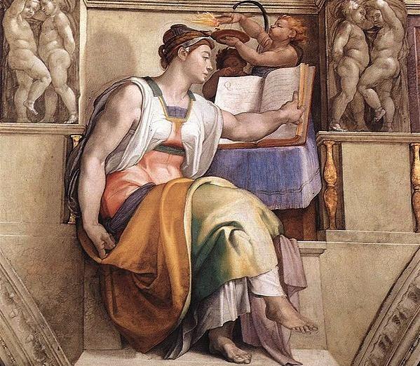De Sibille van Erythrae door Michelangelo, Sixtijnse Kapel