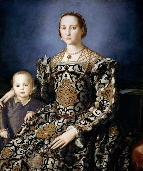 Eleonora van Toledo met haar zoon Giovanni de' Medici, door Agnolo Bronzino, 1544.