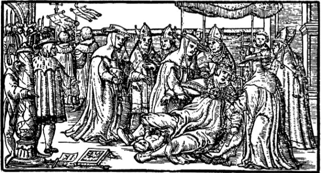 Publieke bevalling van pausin Johanna. Gravure uit Giovanni Boccacio's De Claris Mulieribus