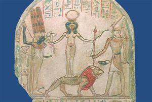 Stèle met 'de Heilige' op een leeuw geflankeerd door de goden Min en Reshef. Foto: Bijbels Museum