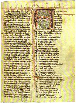 Hadewijchs 1e strofische gedicht: Ay al es nu die winter cout / cort die daghe / ende die nachte langhe. Handschrift Gent, UB, 941, f. 49r. (foto: Wikimedia)