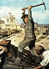 Fascistische propaganda: Mussolini werkt aan de Via dell'Impero, op de voorpagina van de krant Domenica del Corriere.