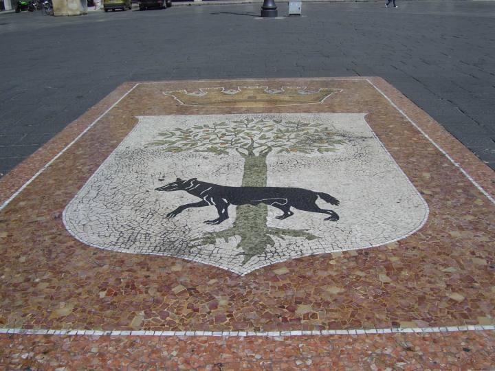 Het wapen van Lecce in mozaiek