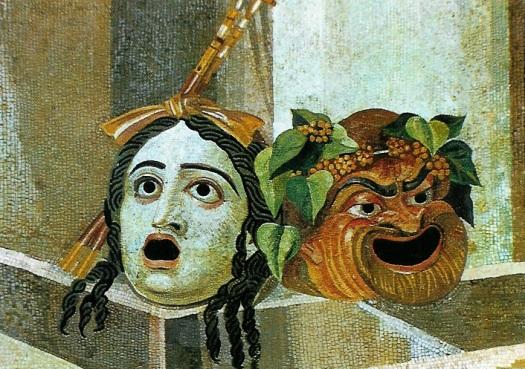 Tragediemaskers: mozaïek uit de 2e eeuw n.Chr.