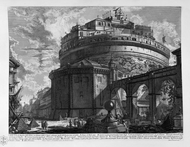 De Engelenburcht en de passetto, door Giovanni Battista Piranesi (1748-1774)