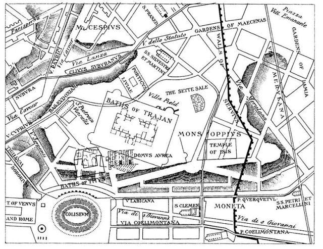 Ligging van ruïnes en opgravingen ten opzichte van de moderne plattegrond van Rome (kaart uit 1897)