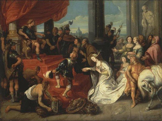 De zelfbeheersing van Scipio Africanus (zie Livius XXVI 50), Simon de Vos (1641)