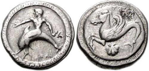 Munt met Taras en de dolfijn (ca. 500 v.Chr.)