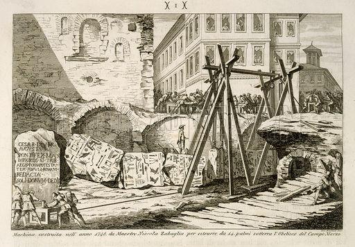 Hefconstructie op de bouwplaats, naar een uitvinding van Nicola Zabaglia