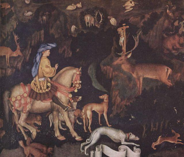 Het visioen van S. Eustachius, door Pisanello (1436)