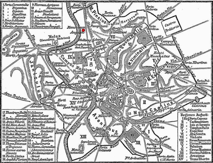 De locatie van Augustus' mausoleum in het oude Rome (rode stip). Foto: Wikimedia