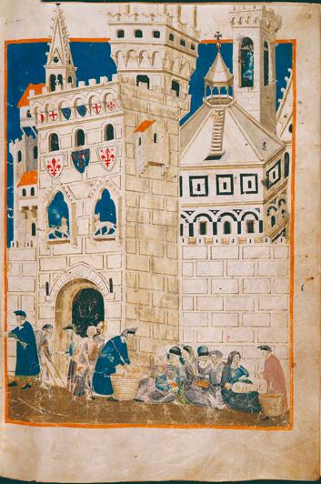Domenico Benzi De armen die Siena zijn uitgezet da Siena worden opgevangen in Florence (1335-1347) Membranaceo;  Firenze, Biblioteca Medicea Laurenziana