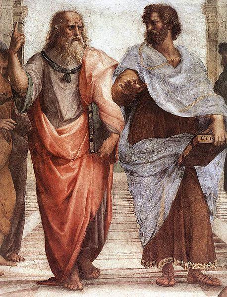 Aristoteles (rechts) met Plato (links), detail uit de De Atheense school, Rafaël