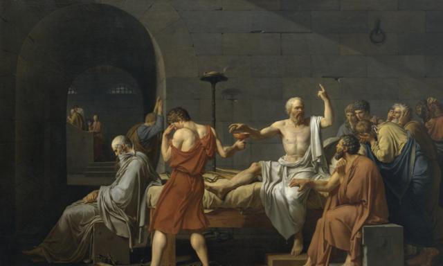 Socrates treedt zijn dood zonder angst tegemoet (Jacques-Louis David, 1787)