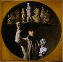 William Daniels (Liverpool 1813-1880 Liverpool), Self-Portrait with Casts: The Image Seller, c. 1850. Oil on canvas, feigned circle, 43.3 x 43.3 cm. Katrin Bellinger collection, inv. no. 2005-016