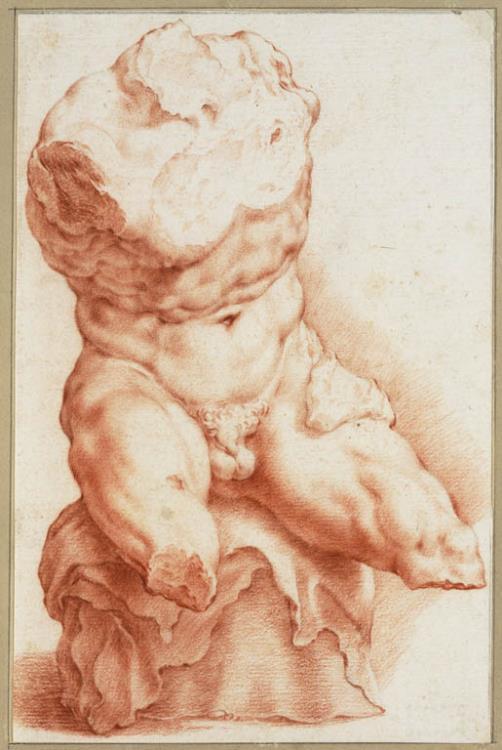 Hendrick Goltzius (Bracht-am-Niederrhein 1558-1617 Haarlem), The Belvedere Torso, 1591. Red chalk, 255 x 166 mm. The Teylers Museum, Haarlem, inv. no. N 31