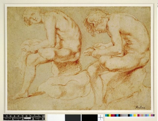 Peter Paul Rubens (Siegen 1577-1640 Antwerp) Two Studies of a Model Posing as the 'Spinario', c. 1600-08 Red chalk with touches of white chalk, 201 x 362 mm    The British Museum, Department of Prints and Drawings, London, inv. T,14.1