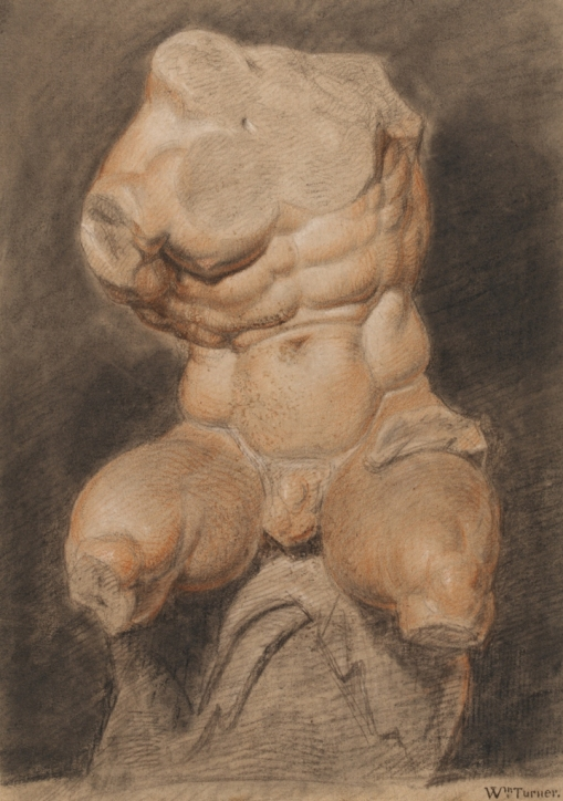 Joseph Mallord William Turner (London 1775-1851 London), A Study of a Plaster Cast of the Belvedere Torso, c. 1792. Black, red and white chalk, on brown paper, 331 x 235 mm, Victoria and Albert Museum, Prints & Drawings Study Room, London, 9261