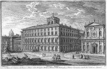 Palazzo Mattei, door G. Vasi. De grote open ruimte voor het palazzo is vals en om artistieke redenen zo weergegeven.