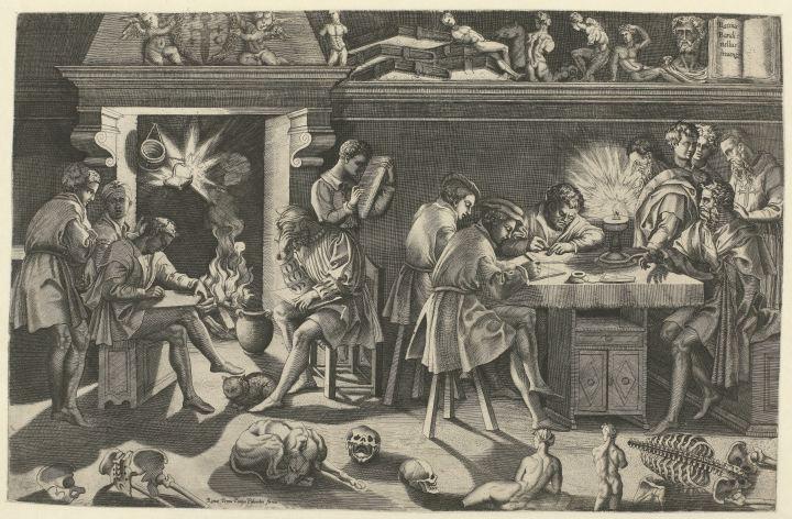 Enea Vico (Parma 1523-1567 Ferrara), After Baccio Bandinelli (Gaiole, near Chianti 1493 – 1560 Florence). The Academy of Baccio Bandinelli, c. 1545/50. Engraving, 314 x 486 mm, Katrin Bellinger collection, inv. no. 1998-039