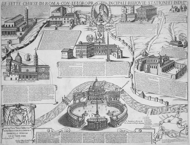 De 7 pelgrimskerken van Rome, prent van Giacomo Lauro en Antonio Tempesta uit 1599 voor het Heilige Jaar 1600.